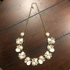 Francesca's gold pearl and rhinestone necklace